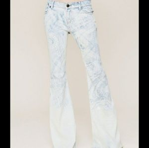 Free People Bali Discharge light blue flare jeans